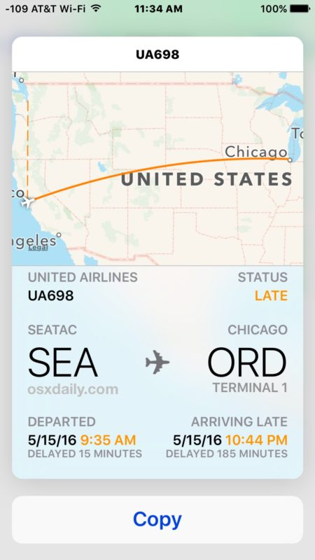 3D Touch flight info on iPhone