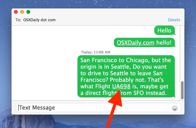 Getting flight information from Messages app in Mac