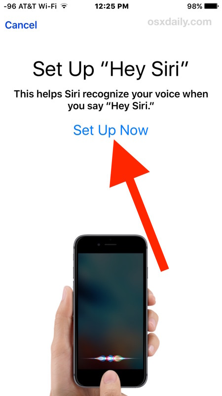 Setup Siri with voice training recognition