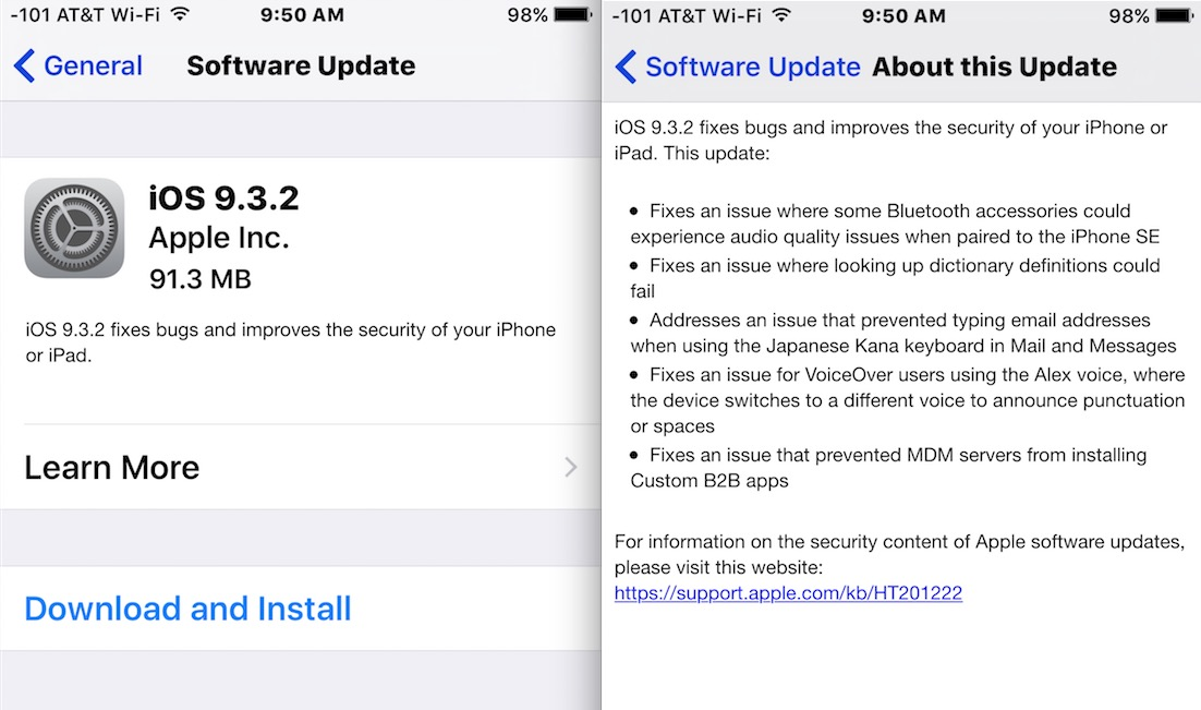 Download and update iOS 9.3.2