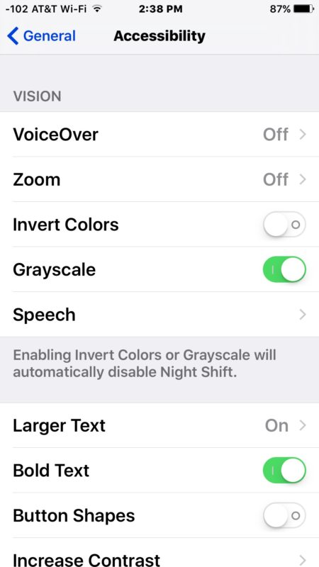 Turn off grayscale mode to exit out of black and white screen on iPhone