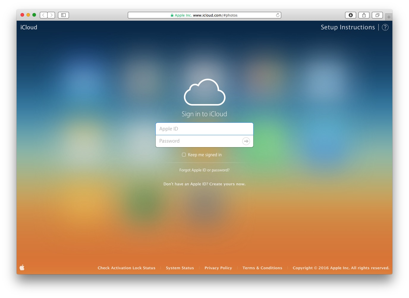 Login to the iCloud website