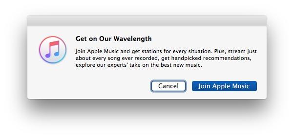 Apple Music popups in iTunes
