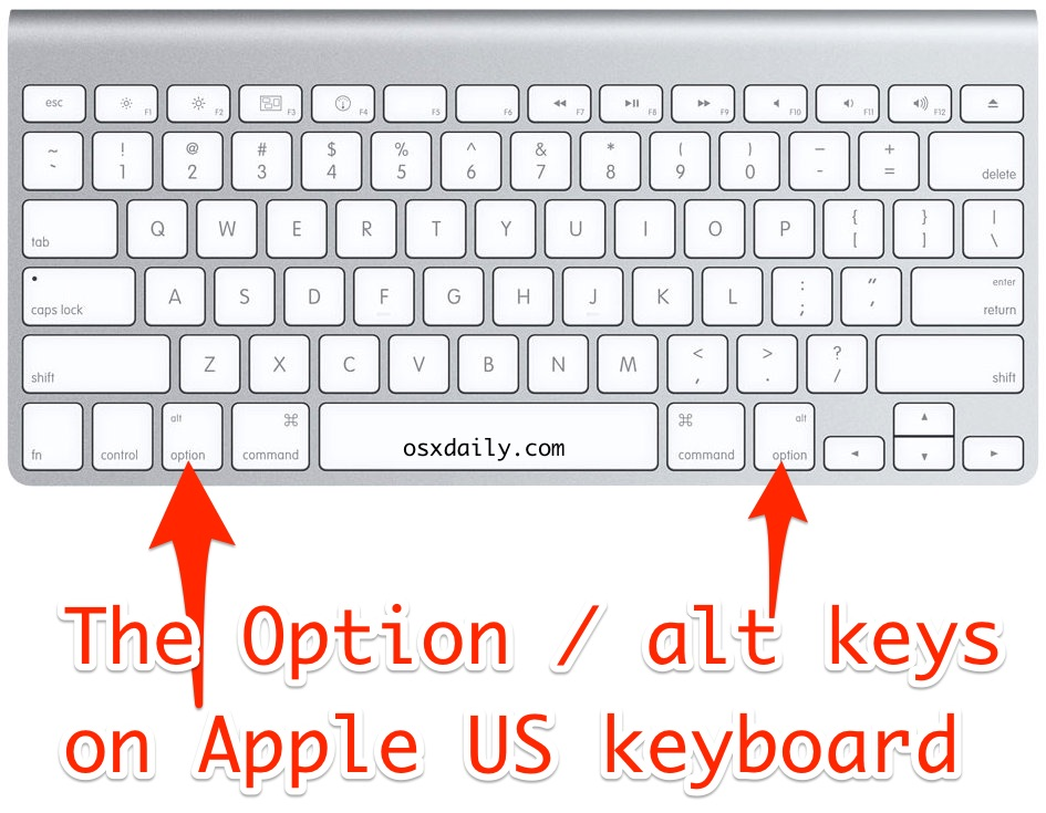 Option ALT key location on Apple US keyboards