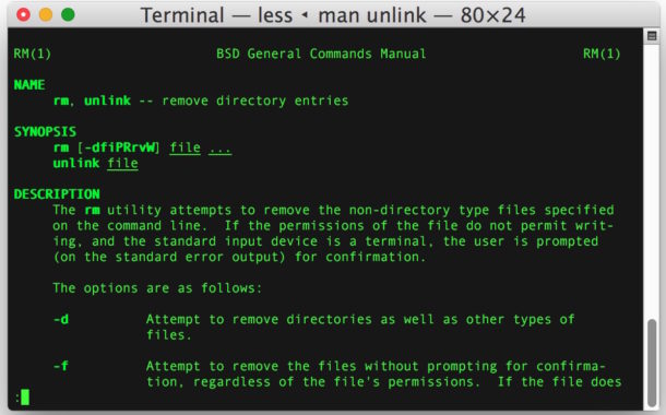 Remove a symbolic link with unlink or rm command
