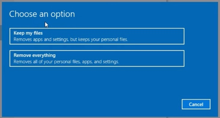 Choose keep my files to reinstall Windows 10