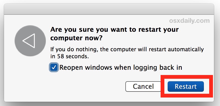 Restart the Mac and reopen windows on reboot