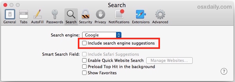 Disable Safari Search Suggestions on Mac