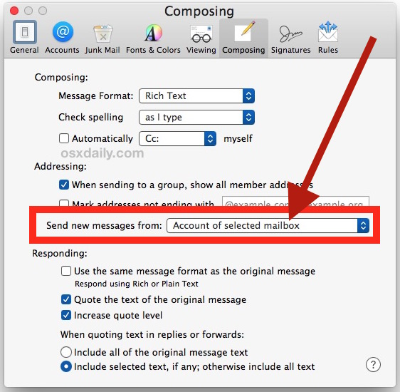 Set default email address in Mail for Mac