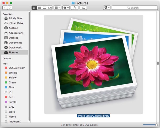 The iPhoto Library file