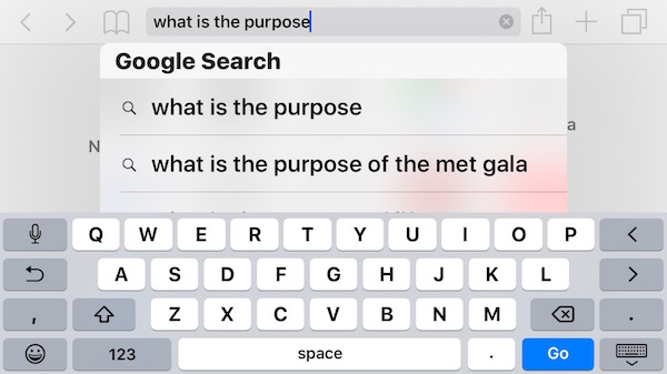 Safari Search Suggestions enabled example