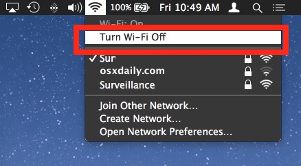 Turn off wifi