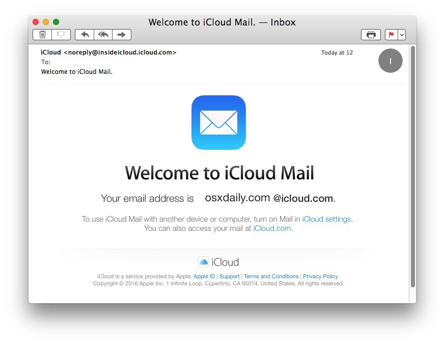 Confirmation new iCloud email address made