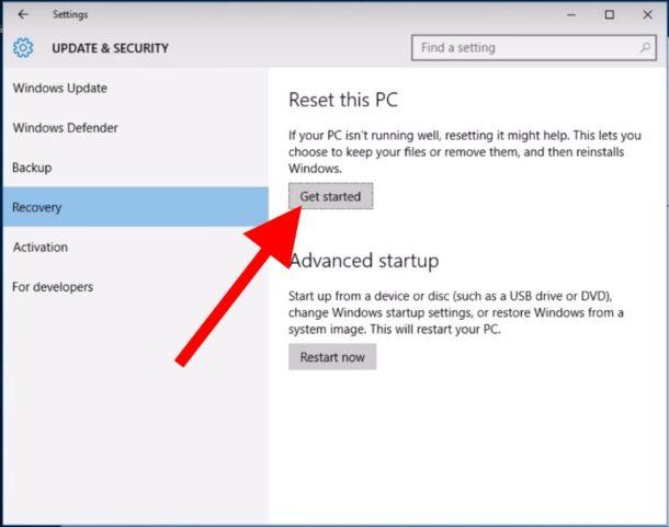 Reset Windows 10 PC