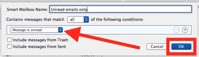 Set parameters for Unread Mail inbox in Mac Mail
