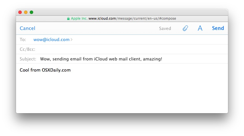 Composing email in iCloud web mail