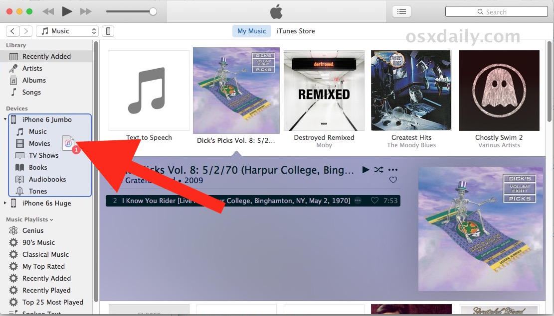 Drag and drop music to iPhone to copy from iTunes