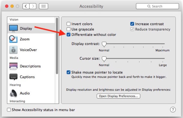 Differentiate without color in Mac OS X