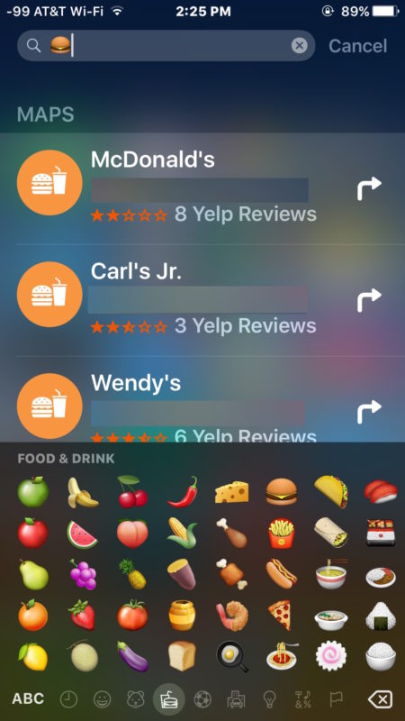 Finding burger restaurants in spotlight with Emoji
