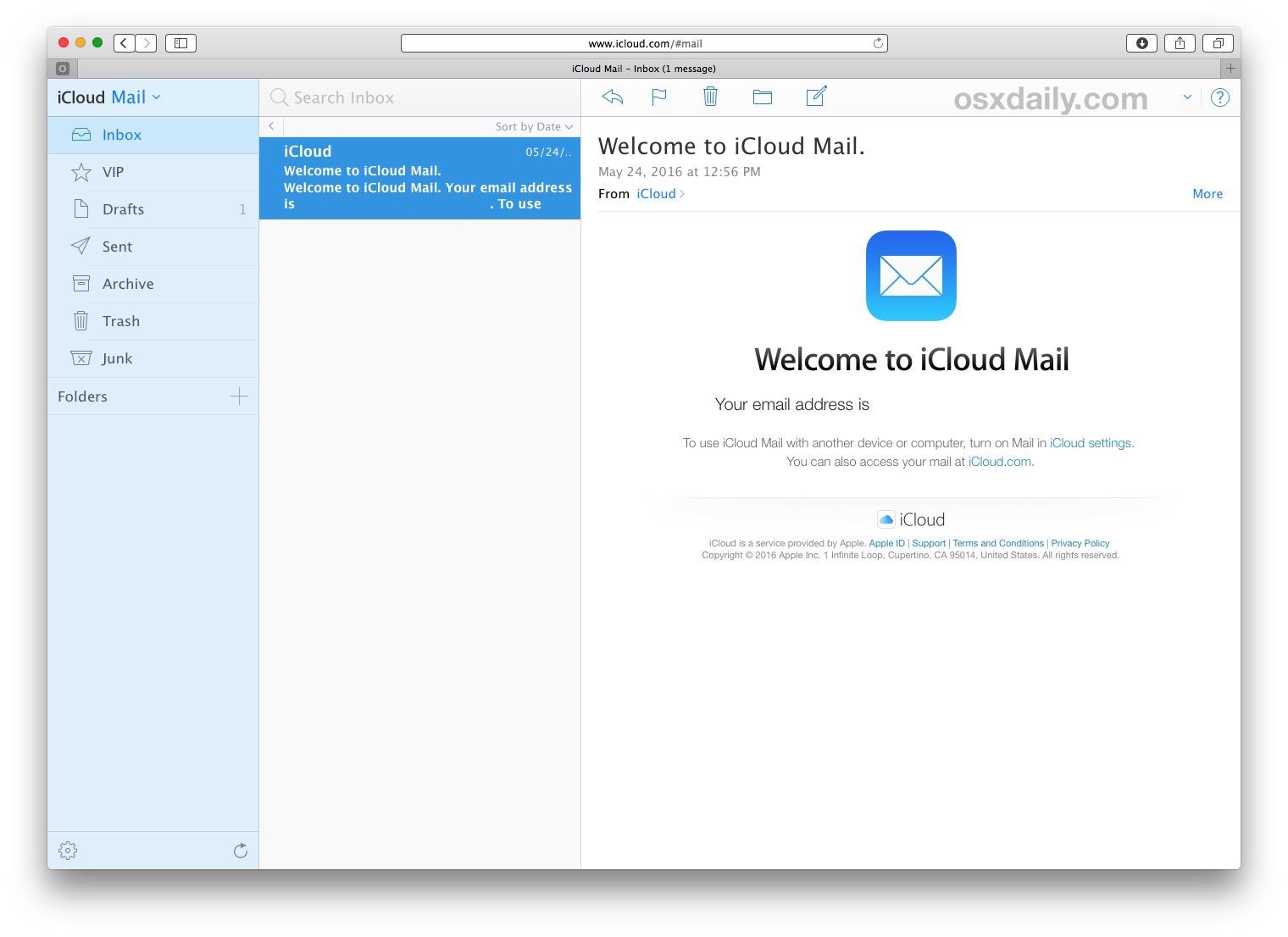iCloud mail on web