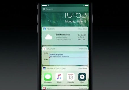 iOS 10 lockscreen widget screen shots