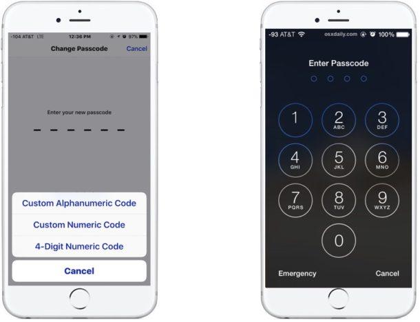 Passcode on iPhone
