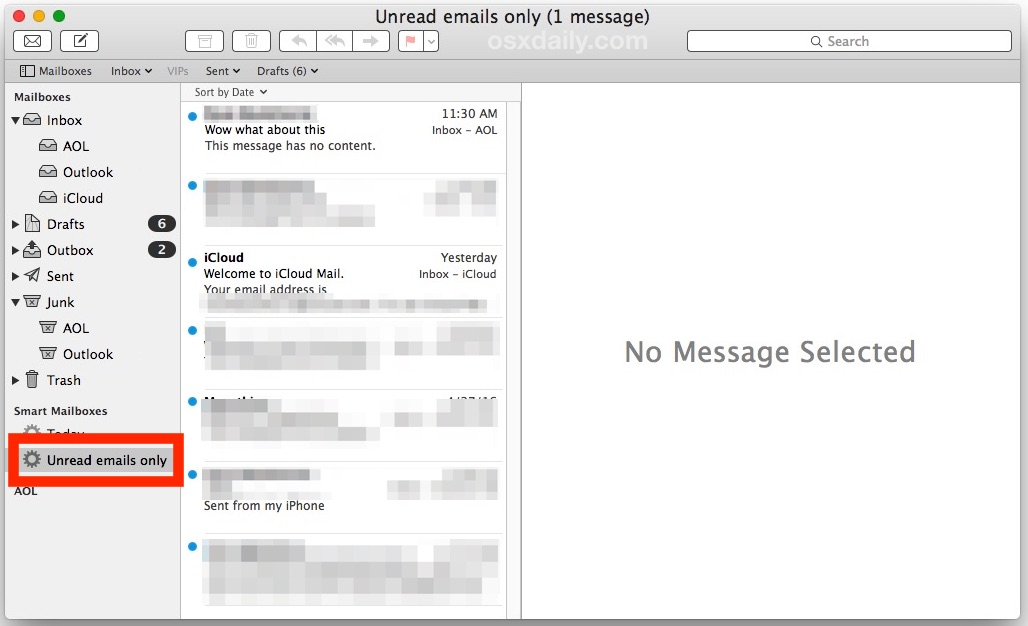 Unread only email inbox on Mail for Mac OS