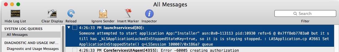 Console log of stuck verifying Mac update