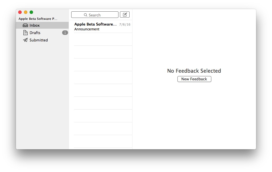 Create new feedback or bug report for macOS Sierra
