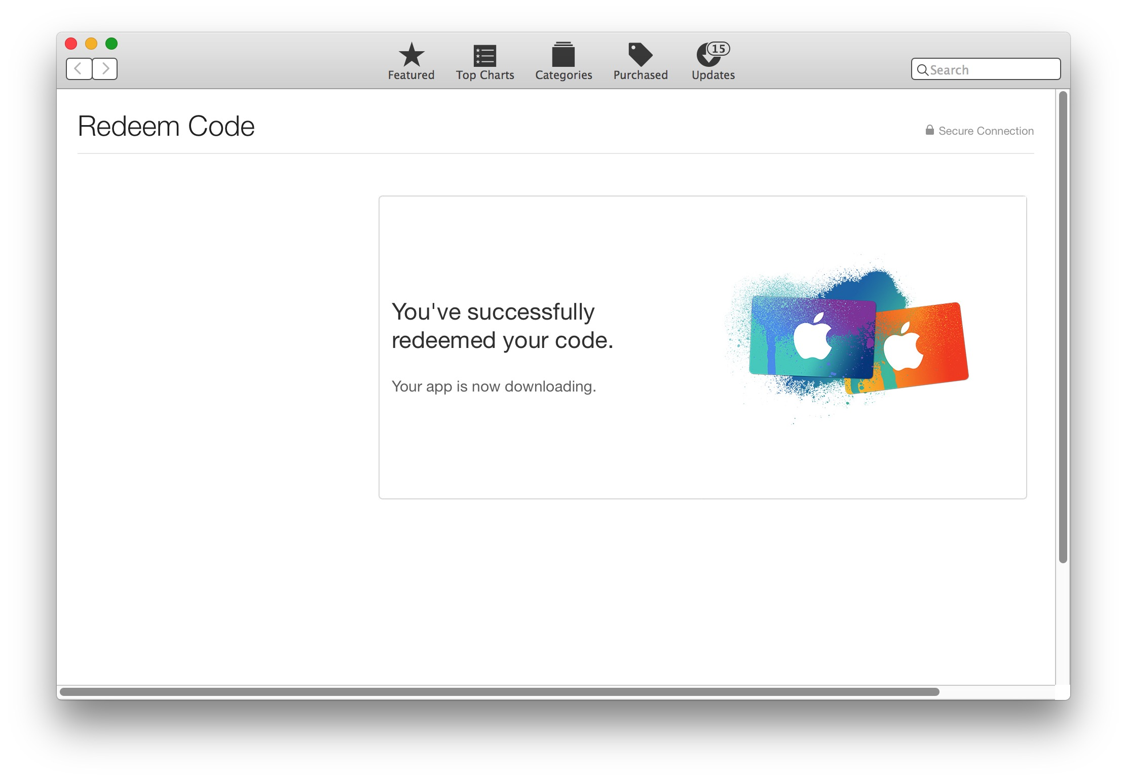 Code redeemed for macOS Sierra