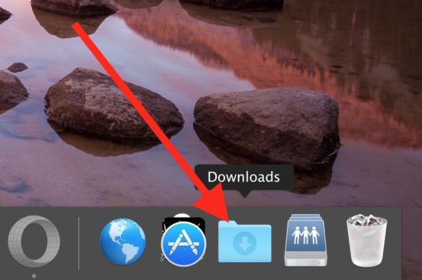 Downloads folder in Dock