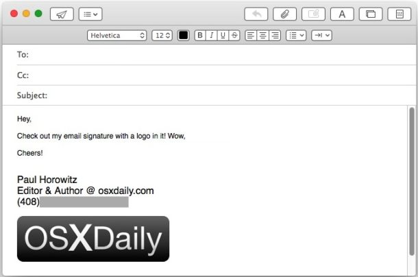 Create an email signature with image or logo in Mac Mail app
