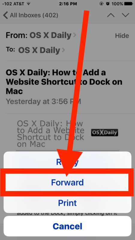 Tap on FORWARD option to forward email in iOS