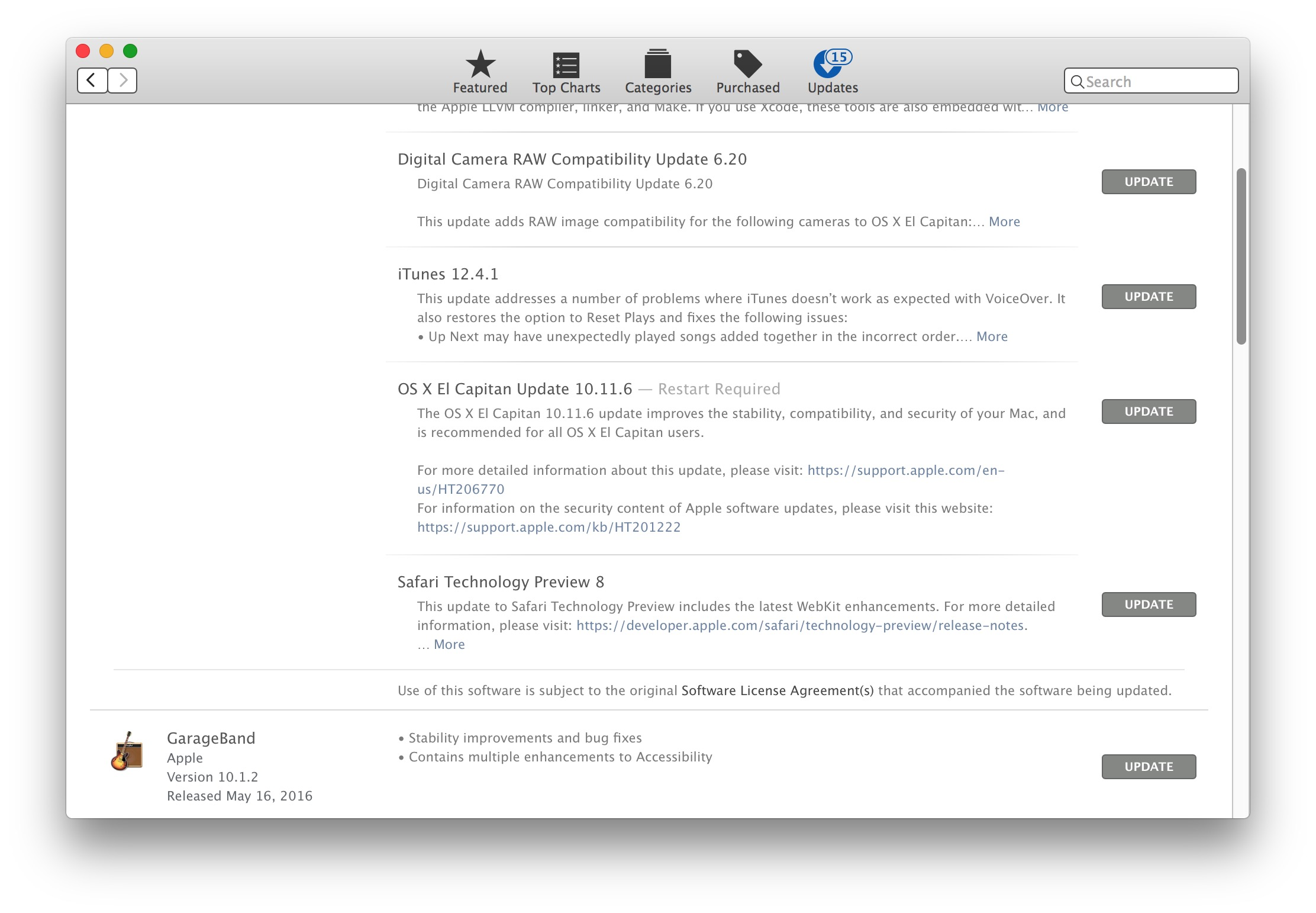 OS X 10.11.6 Update download