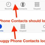 iPhone Contacts Missing Bug
