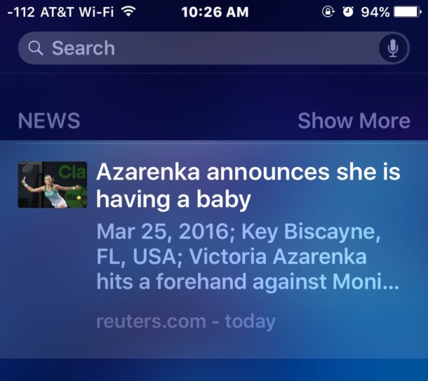 Remove News headlines from Spotlight in iOS