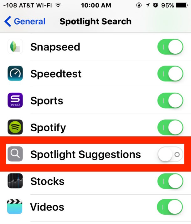 Turn off News headlines in Spotlight by disabling Spotlight Suggestions