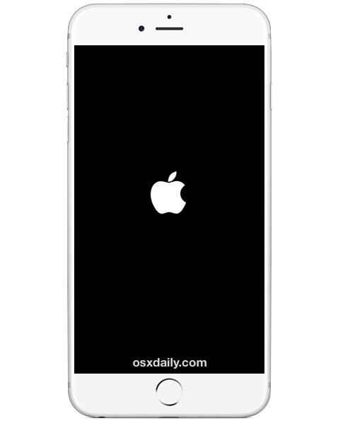 Restarting iPhone indicated by Apple logo on screen