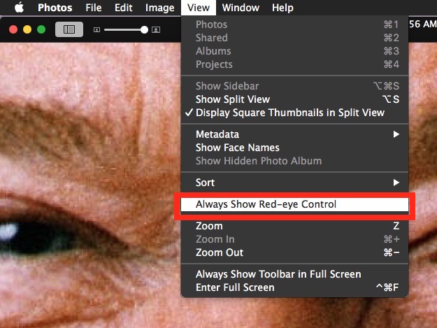 Always Show Red Eye Removal Tool in Photos for Mac