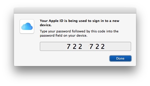 Apple ID two factor authentication code
