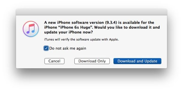 Ignore iOS update and block it in iTunes
