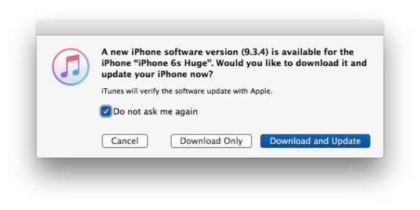 Ignore iOS update and block it in iTunes