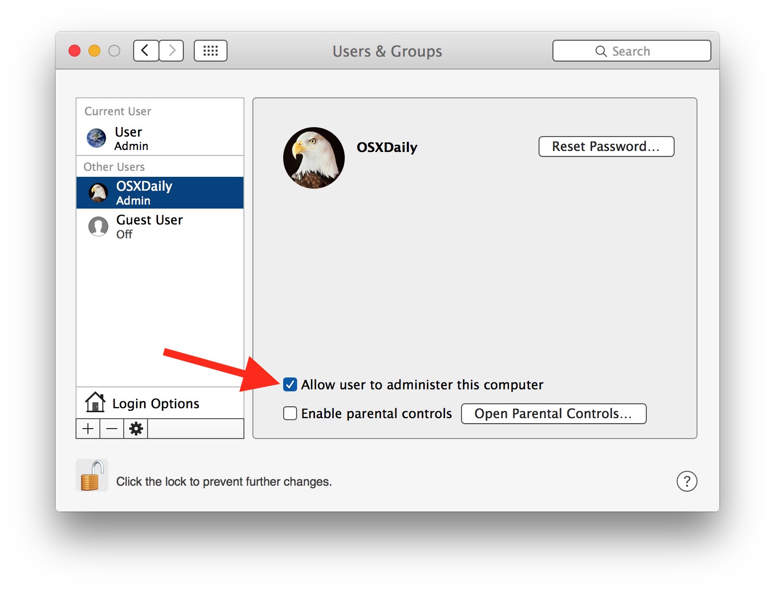 Give standard user account Admin access on Mac OS X