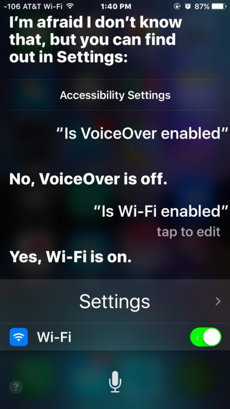 Siri checking device settings in iOS