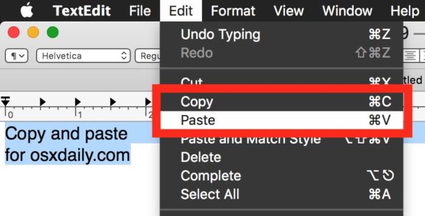 How to copy and paste on Mac with the Edit menu