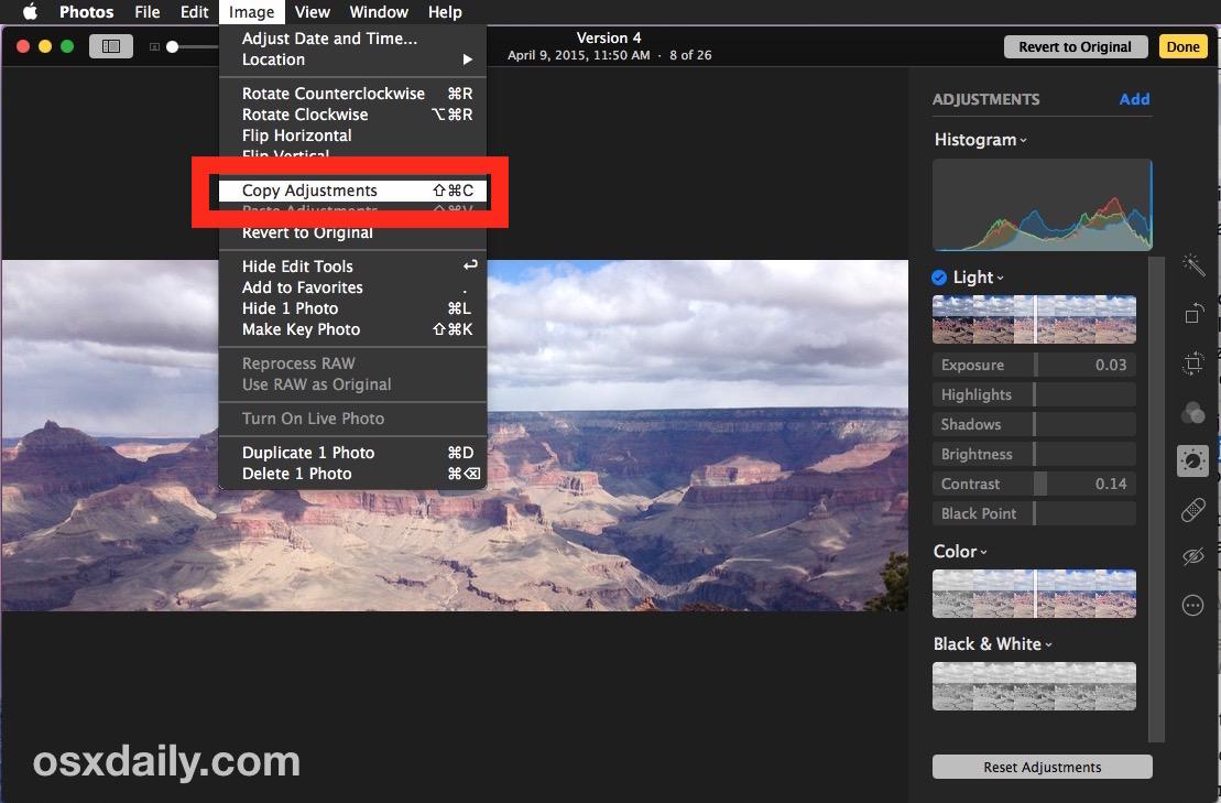 Copy photo adjustments on Mac