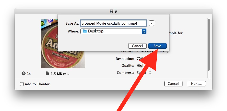 How to crop a video on Mac with iMovie saving the file