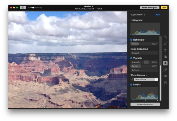 Advanced image editing adjustments on Mac Photos app