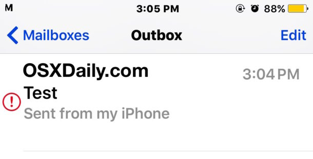 Send email stuck in outbox of iOS