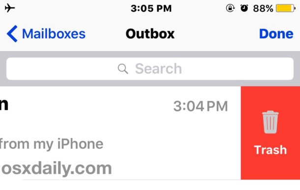 Delete a stuck email in outbox on iPhone or iPad